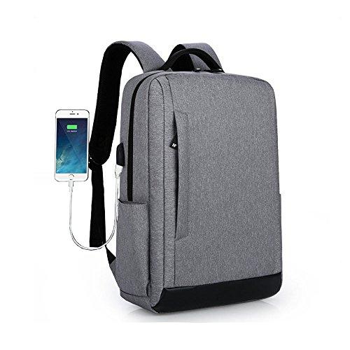 Tuch Notebook Gebunden (Unbekannt Laptop-Rucksack mit USB-Ladeanschluss und Diebstahlsicherung, 15,6-Zoll-Notebook-Tasche, Wasserdichter Schulrucksack, Neutraler Rucksack, Wasserdichter Rucksack,Gray)