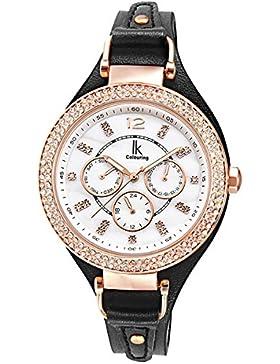 Alienwork Quarz Armbanduhr Perlmutt Uhr Damen Uhren Roségold Strass Leder weiss schwarz K002GA-04
