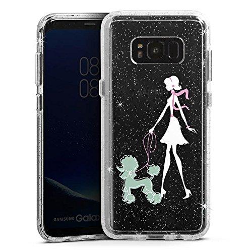 DeinDesign Samsung Galaxy S8 Bumper Hülle Bumper Case Glitzer Hülle Franzoesische Frau Pudel Madame - Womens Pudel