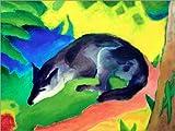 Posterlounge Alu Dibond 120 x 90 cm: Blauschwarzer Fuchs von Franz Marc