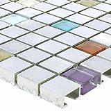 Mosaikfliesen Lissabon Aluminium Glas Mosaikstein Bunt Mix für Wandverkleidung Küchenrückwand Badezimmer Fliesenspiegel Duschwand Bad