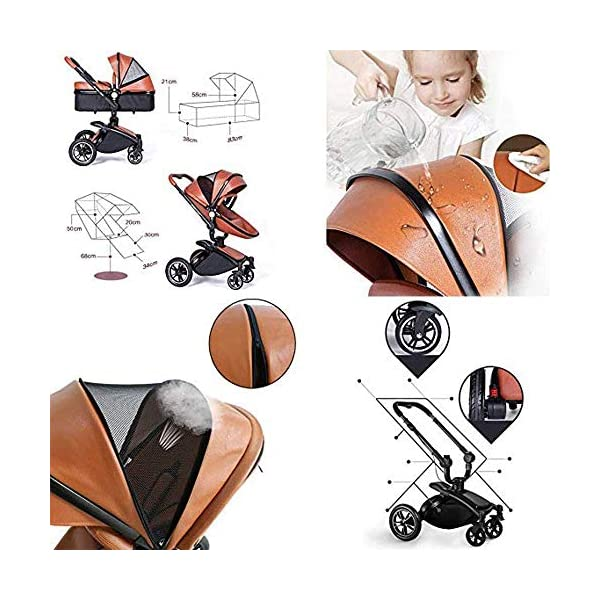 Yyqt Baby Carriage,with Buggy Top and Carrycot Travel System Feature New 2019, Stroller 2 in 1, it Includes Specifications: Eggshell Seat, Sleeping Basket, Red Seat Cushion (Color : Pink) Yyqt ♥360-degree swivel seat, high-quality leather, aluminum alloy frame (for safety reasons, the seat rotates 90 degrees and locks automatically.) If you want to turn again, turn the knob again) can be used as a cradle ♥Sports car seat: can be used in and against the direction of travel. The seat can easily be used in or against the direction of travel and a resting position in both directions is possible for a nap. ♥Cross-country stroller includes: red seat pad for babies, baby frame and eggshell chair, sleeping basket, car safety seat, 2