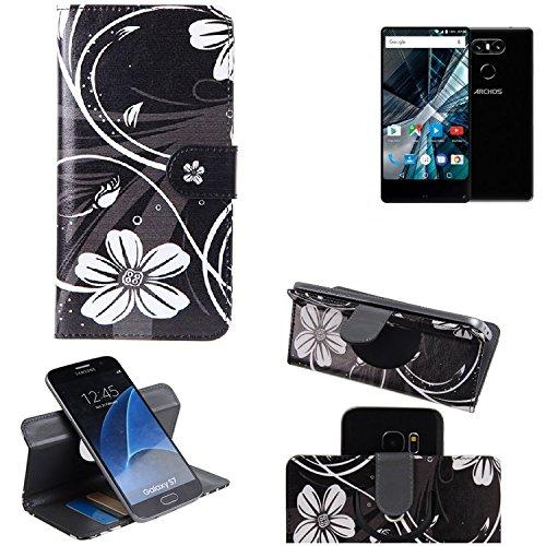 K-S-Trade Schutzhülle für Archos Sense 55 S Hülle 360° Wallet Case Schutz Hülle ''Flowers'' Smartphone Flip Cover Flipstyle Tasche Handyhülle schwarz-weiß 1x