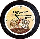 Lucky Clocks GUTES Team PAPIERHOCHZEIT 1. Hochzeitstag Wanduhren für jeden Anlass mit jeder Beschriftung und jedem Vornamen Namen erhältlich