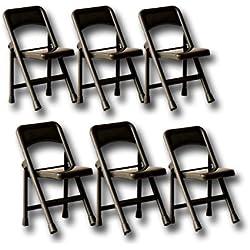 6x nero pieghevole sedie–Wrestling Figure Accessori (WWE/TNA)