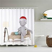 Snowman Shower Curtain Cortina de ducha con diseño de muñeco de nieve, color blanco, tamaño 69 x 84