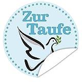 Zur Taufe ✿ Aufkleber ✿ rund ✿ 9,5 cm ✿ Personalisieren Sie Ihr Geschenk mit einem tollen Aufkeber ✿ inkl. Postkarte Alles Gute ✿ Geschenk für die Taufe