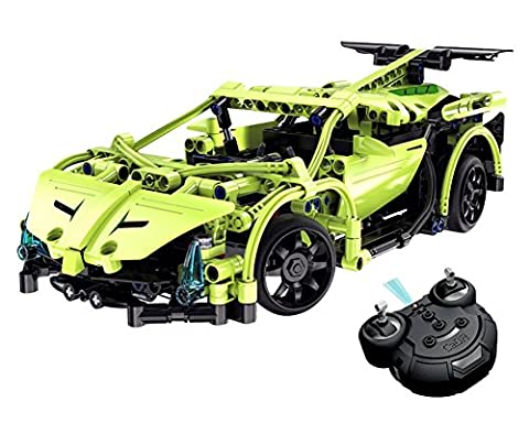 CR Build Your Own DIY Building Block Kits 1:14 2.4GHz Full Functional Rechargeable Remote Control Car RC Block Buggy Electric Assembly Construction Set 453 Pcs(Green)