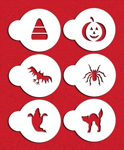 Designer Stencils C065 Halloween Cupcake and Cookie Stencil Set with Cat, Candy Corn, Spider, Ghost, Bat and Pumpkin, Beige/semi-transparent by Designer Stencils (Halloween Cupcakes, Candy Corn)