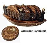 Wooden Antique Handcrafted | Decorative Boat Shape Tea Coaster | Wooden Boat Cart Coaster| Kitchen | Tea Coaster | Coffee Coaster | Showpiece | Birthday Gift | Weeding Gift | Wooden Handicraft |Gift | Corporate Gift | Traditional | Handmade | Antique| Vin