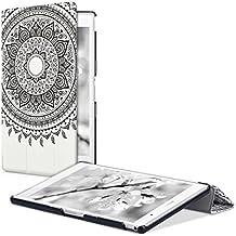 kwmobile Funda para Sony Xperia Tablet Z3 Compact - Smart Cover de cuero sintético para tablet - Case ultra delgada para tableta Diseño Sol hindú en negro blanco