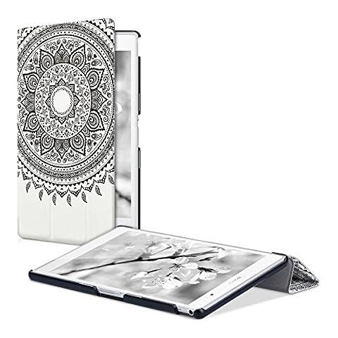 kwmobile Housse fine et smart pour Sony Xperia Tablet Z3 Compact avec support - étui en cuir synthétique en noir blanc avec Design soleil indien