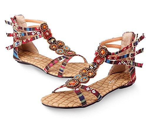 Wealsex Damen Böhmen Sandalen Sommer flache Schuhe Rot