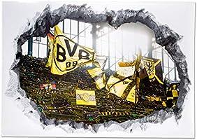 Borussia Dortmund Sticker mural 3D Motif stade Jaune 0