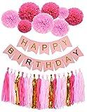 Scimmia Home Happy Birthday striscioni lovely pompon in carta fiori di carta con nappe ghirlande per 1st 18th 21TH 41TH 51TH festa di compleanno decorazioni