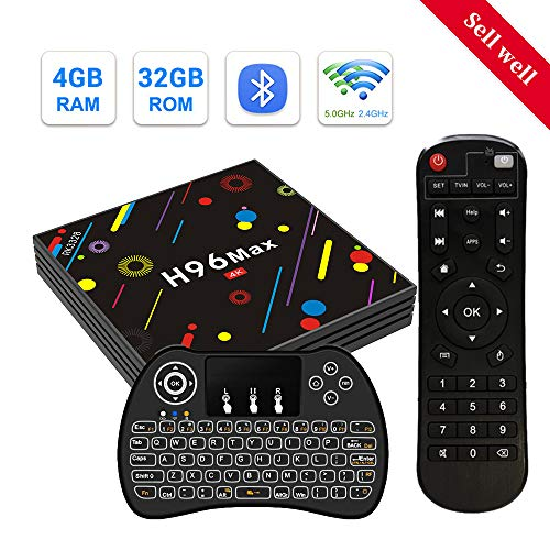 H96 MAX Smart TV Box 4GB RAM + 32GB ROM mit RK3328 Quad Core Support 2.4GHz/ 5GHz Dual WiFi/ 4K Ultra HD/ 3D/ H.265/ BT4.0/ USB 3.0/ Mini Wireless Backlit Keyboard Android 7.1 TV Box