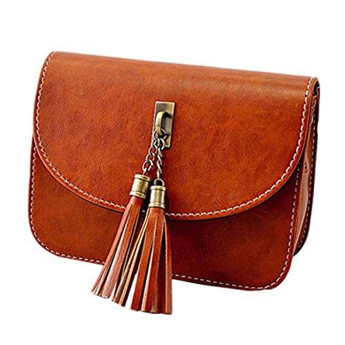 Milya Retro-Taschen Damen Handtasche Portemonnaie PU Leder Satchel Small Umhängetasche Mode-Design mit Quasten Sechs Farben sechs Arten von Auswahl Hellbraun
