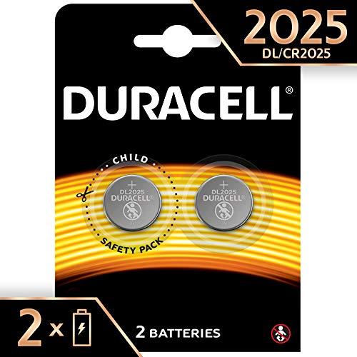 Duracell - Pilas especiales de botón de litio 2025 de 3V, paquete de 2 unidades (DL2025/CR2025) diseñada para uso en llaves con sensor magnético, básculas, elementos vestibles y dispositivos médicos