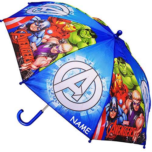 Regenschirm -  The Avengers  - inkl. Name - Kinderschirm Ø 70 cm / groß Stockschirm mit Griff - Kinder - Regenschirme - für Jungen Mädchen - Schirm Kinderre.. ()