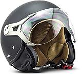SOXON SP-325-MONO Night · Pilot Chopper Mofa Helmet Retro Vespa-Helm Biker Bobber Vintage Scooter-Helm Roller-Helm Jet-Helm Cruiser Motorrad-Helm · ECE zertifiziert · mit Visier · inkl. Stofftragetasche · Schwarz · L (59-60cm)
