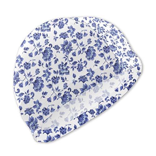 Guan_Collection Badekappen für Kinder Fleurs De Provence provenzalisches blaues Weiß Badekappen Bademütze Kid Sonnenhut