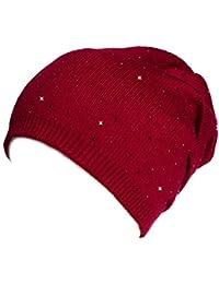 Kandharis Beanie klassische warme Feinstrick Mütze mit edler Strass-Nieten Optik Damen MT-15