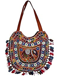 Decot Women's Cotton Elegant Floral Embroidery Hand Bag (Red)