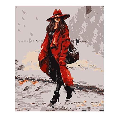 lyscz Roten Trenchcoat Abbildung DIY digitales malen nach Zahlen Moderne wandkunst leinwand malerei Geschenk für Kinder wohnkultur 40x50 cm (Trenchcoat Junior)