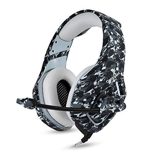 ZYJ Camouflage Gaming Headset für PC, Stereo Gaming Headset Ohren Headset mit Noise Canceling Mikrofon für Computer Game Gamer,B