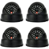 yaekoo 4unidades nuevo maniquí Fake seguridad CCTV cámara de cúpula con luz LED parpadeante color roja (cúpula) para cámara de fotos