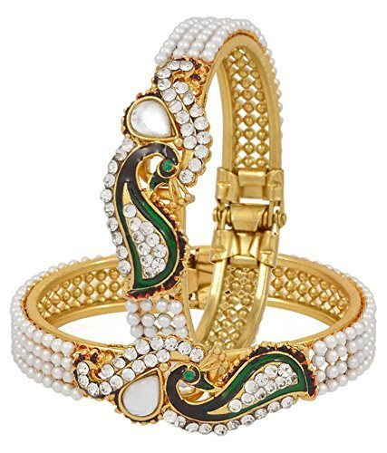 Meenaz Peacock American Diamond Gold Plated Pearl Bangle Set For Women ( 2 Pcs Ba113)  available at amazon for Rs.289