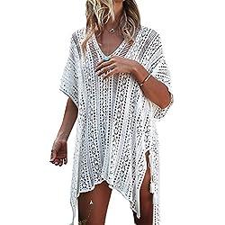 Garsumiss Bikinis Cubrir Ropa De Playa Body Mujer Sexy Bikini Falda De Playa (Talla única, Ganchillo Blanco)