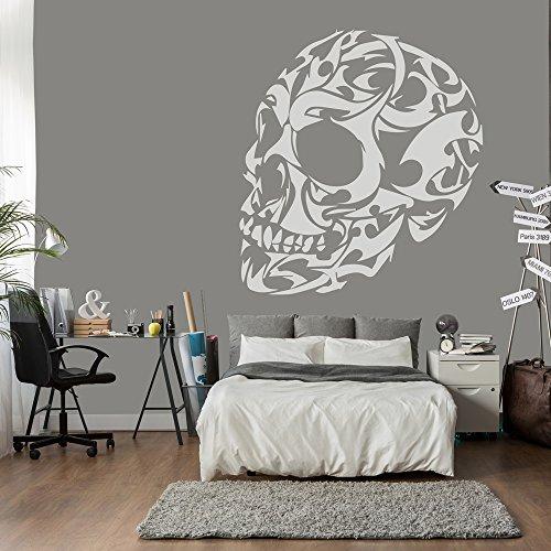 Stammes- Schädel Wandsticker Schädel Wandtattoo Kunst verfügbar in 5 Größen und 25 Farben Extragroß Weiß (Stamm Schädel,)