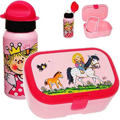 Unbekannt 2 TLG. Set _ Lunchbox / Brotdose & Trinkflasche -  Pferde & Prinzessin  - BPA frei - mit extra Einsatz / herausnehmbaren Fach - Brotbüchse Küche Essen - SPO..