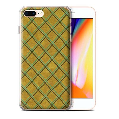 Stuff4 Gel TPU Hülle / Case für Apple iPhone 8 Plus / Grün Muster / Kreuz Muster Kollektion Gelb