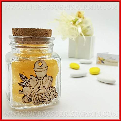 Ingrosso e risparmio 12 barattoli in vetro portaconfetti e tappo in sughero con decorazione in legno a forma di calice e ostia bomboniere prima comunione (senza confezionamento)
