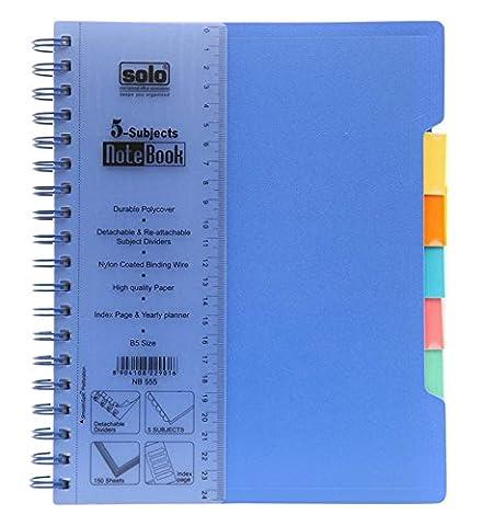 Solo Spiral Notebook, 5-Themen College Ruled 70 gsm Journal B5 Schreiben Notizbuch, 600 Blätter - Größe verfügbar