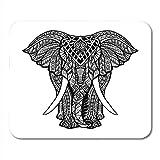 Tappetino per mouse da gioco Tatuaggio Elefante Vista frontale Henné indiano Indù Mandala Pizzo 25X30 Cm Tappetino per mouse in gomma antiscivolo per ufficio