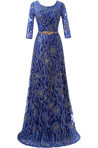 Sunvary Robe de Soiree Longue A-ligne en Dentelle Florale Manche 1/2 Col rond Ceinture Bleu roi