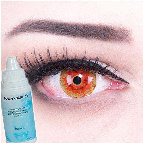Farbige rote Kontaktlinsen Crazy Color Fun Contact Lenses Red Monster perfekt zu Fasching, Karneval und Halloween Topqualität inkl. Linsenbehälter + 60ml Pflegemittel