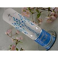 Taufkerze Lebensbaum Baum blau silber Taube handmade Taufkerzen für Jungen 250 70 mm mit Name und Datum