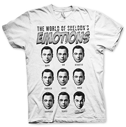 Officially Licensed Merchandise Sheldons Emotions T-Shirt (White), Small