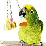 XMSSIT uccello Chew giocattoli con acciaio INOX campane che appeso in gabbia per Parrot Conure Cockatoo Macaw africano grigio Amazon Budgie parrocchetto Cockatiel Finch Lovebird gabbia