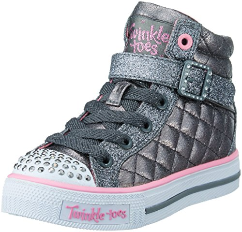 Nubuk Upper Casual Stiefel (Skechers Mädchen Shuffles Sweetheart Sole Low-Top, Grau (Gun), 28 EU)