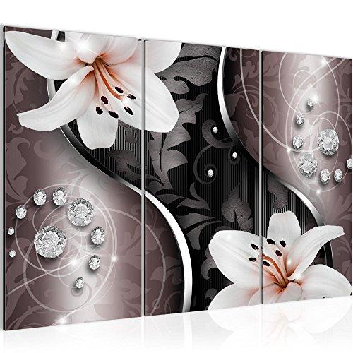 Bild 120 x 80 cm - Lilien Bilder- Vlies Leinwand - Deko für Wohnzimmer -Wandbild - XXL 3 Teilig Teile - leichtes Aufhängen- 801031a