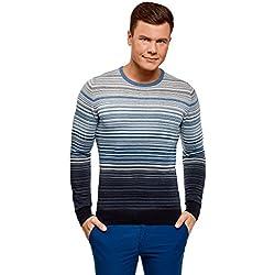 oodji Ultra Hombre Jersey a Rayas con Cuello Redondo, Azul, ES 52-54 / L
