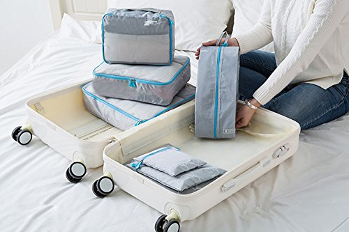 Nylon Leichtgewicht Verpackung Würfel Set Gepäck Organizer Wasserdichte Tasche Packung Organizer Set Reise, 7Pcs