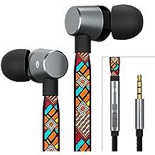 AUNEK Auriculares In Ear Sudorables con Micrófono, Aislamiento de Ruido, Graves Profundos, Tela