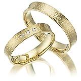 2 x 375 Trauringe Gold Gelbgold Eheringe Massiv Paarpreis LM.27.375 Trauringe Paarpreis vom Juwelier Echtes Gold Verlobunsringe Wedding Rings Trouwringen Hammerschlag Trauringe aus 375 Gelbgo