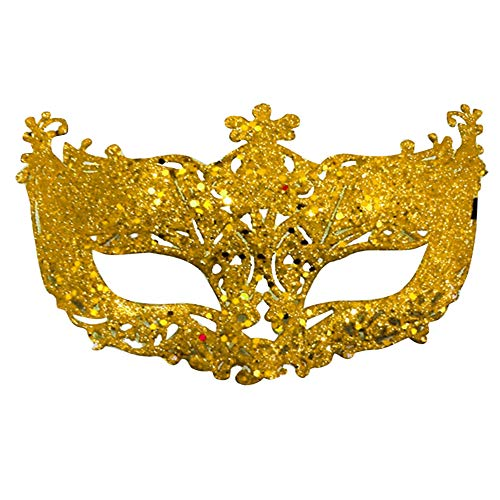 Lanking Tanzshow Maske, Kinder Damen Gesicht Hohlen Kleinen Fox Fairy Gold Chip (gelb)